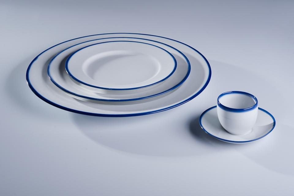 BLUE LINE kompelt 6 talerzy płytkich śniadaniowych 21m, porcelana, kobalt, Modus Design, 169zł