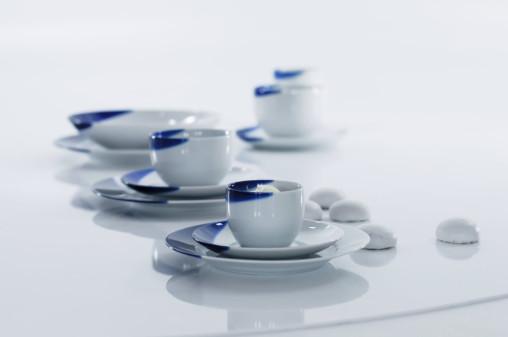 TOUCH OF BLUE - filiżanka herbaciana 0,25l bez ucha + spodek 15,7cm, porcelana, kobalt, Modus Design, 48zł