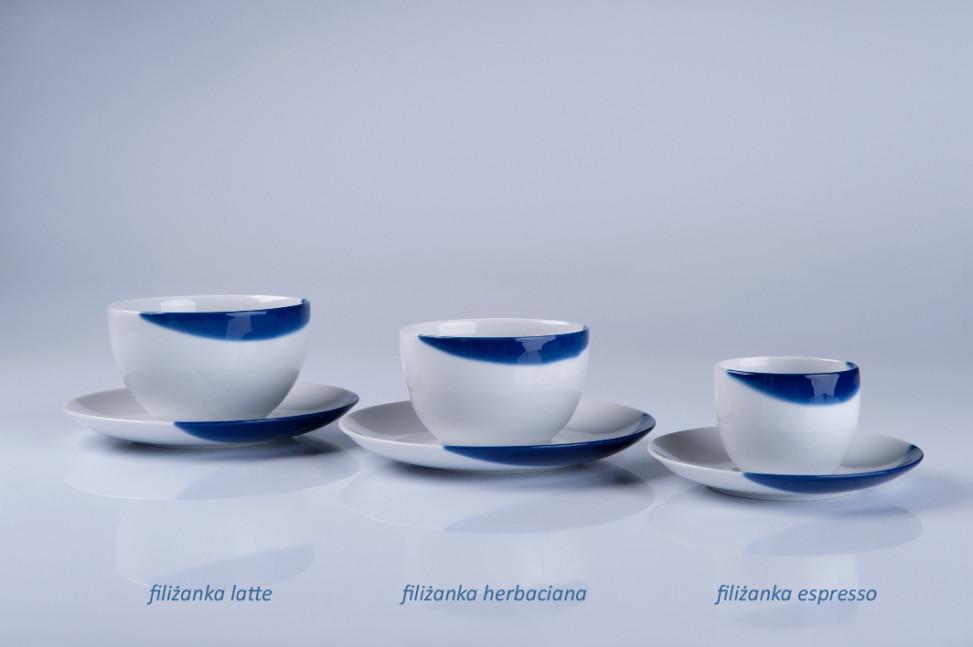 TOUCH OF BLUE - filiżanka latte + spodek, filiżanka 0,45l + spodek 17cm, porcelana, Modus Design, 59zł