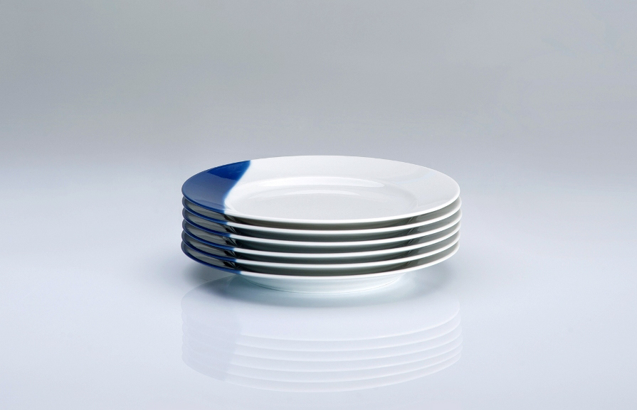 TOUCH OF BLUE kompelt 6 talerzy płytkich deserowych 17cm, porcelana, kobalt, Modus Design, 145zł