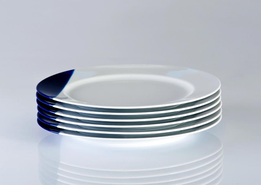TOUCH OF BLUE - komplet 6 talerzy płytkich obiadowych 26cm, porcelana, Modus Design, 228zł