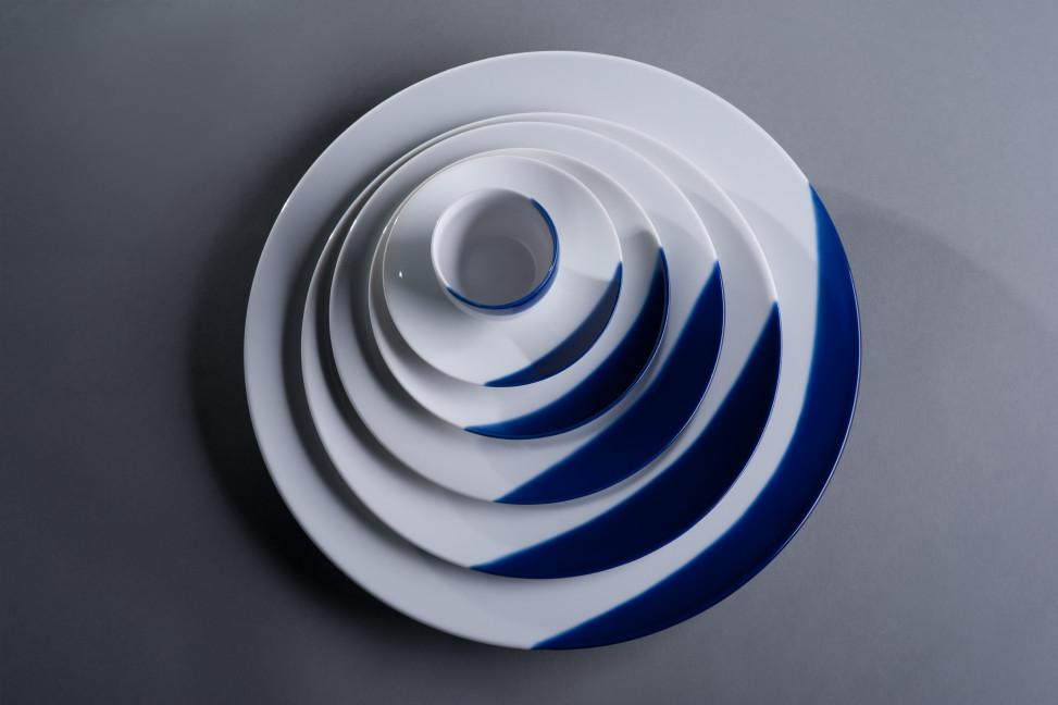 TOUCH OF BLUE półmisek okrągły 32cm, porcelana, kobalt, Modus Design, 69zł