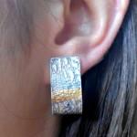 Kolczyki srebrne oksydowane, złoto płatkowe, 150, SPRZEDANE