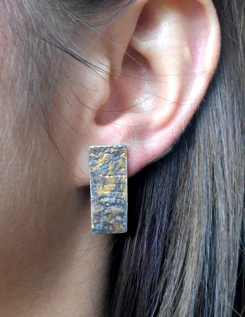 Kolczyki srebrne oksydowane, złoto płatkowe, 140