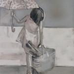 Dziewczynka, 125cmx107cm, akryl na lnie