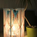 Lampa w pastelowych odcieniach różowo-niebieska, h:36cm, śr. 23cm, 490zł