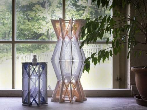 Lampa stojąca biało-pomarańczowa, h:61cm, śr.28cm, 1100zł